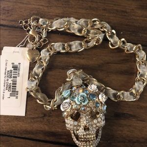 Betsey Johnson Rhinestone Skull Necklace Ribbon